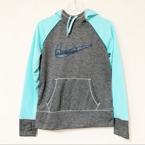 Nike | Gray & Turquoise Thermafit Pullover Hoodie